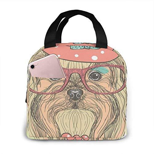 Portátil con aislamiento Sea lindo retrato de un perro adorable con pendientes Collar Gafas Sombrero Bolsa de almuerzo Bolsas de almuerzo de picnic reutilizables Cajas para hombres, mujeres y bolsillo