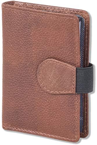 Woodland - Tarjetero XXL con espacio para un total de 18 tarjetas de crédito de piel de búfalo natural., marrón/vintage (Marrón) - 6852957
