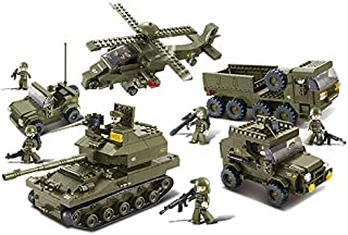 Sluban Ground Forces Joint Attack Blocks Army Bricks Toy – Hind Helicopter & T-90 Main Battle Tank & Army Personnel Carriers & Army Jeep & Prowl Car