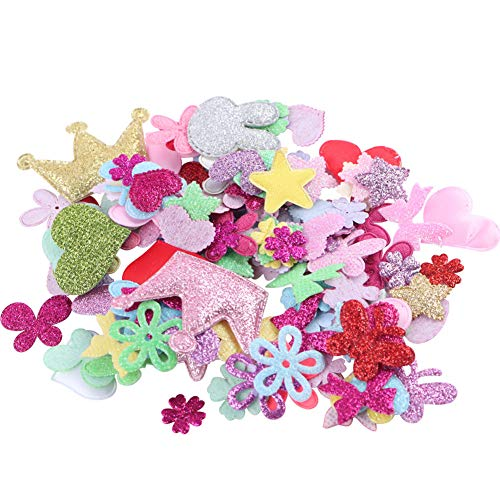 Around 200pcs Mixed Glitter Heart Star Felt Patches Butterfly Flower Crown Bowtie Felt Applique for Scrapbooking Hair Accessories Embelishment DIY Sewing Craft Wedding Decoration