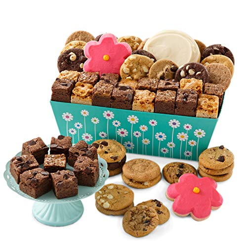 Mrs. Fields Cookies Spring Floral Combo Crate - Includes: Nibblers Bite-Sized Cookies, Brownie Bars & Hand Frosted Flower Cookies