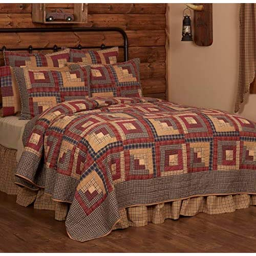 VHC Brands Millsboro King Quilt 110Wx97L Log Cabin Country Rustic Lodge Design, Burgundy