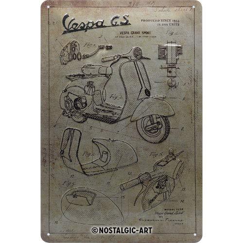 Nostalgic-Art Retro Blechschild Vespa – Parts Sketches – Geschenk-Idee für Roller Fans, aus Metall, Vintage-Design zur Dekoration, 20 x 30 cm