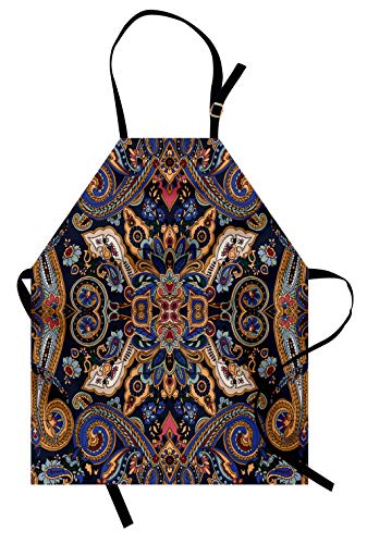 Ambesonne Paisley Apron, Historical Moroccan Florets with Slavic Effects Heritage Design, Unisex Kitchen Bib with Adjustable Neck for Cooking Gardening, Adult Size, Caramel Violet