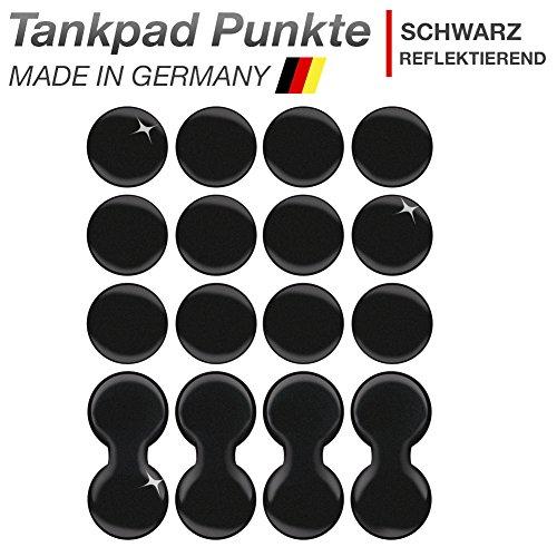 Motoking Tankpad SCHWARZ REFLEKTIEREND Tankaufkleber 16 Stück, Tankschutz, Lackschutz, 3D Aufkleber Pad für Motorrad Tank