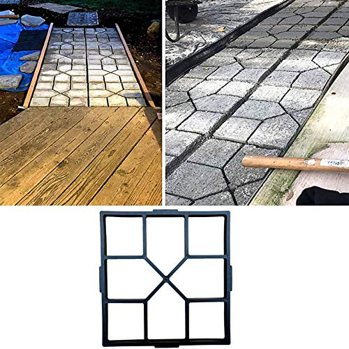 MASTER TRADE Concrete Mold 15.7 x 15.7inch Path Walk Maker Mould for Stepping Stones Garden Patio Yard Walkway Pavement Paving Concrete Moulds DIY