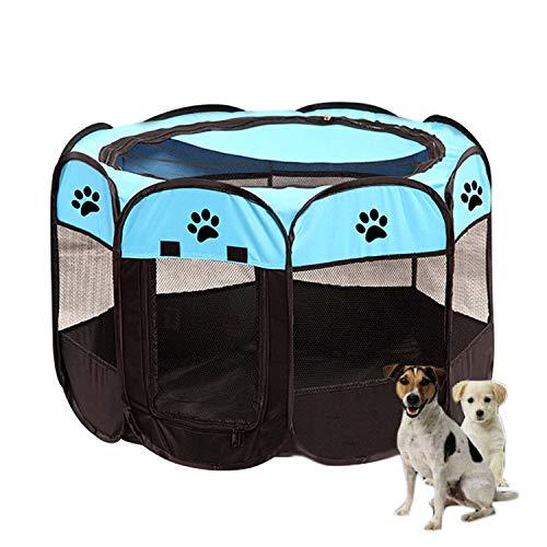 MUMAX Pet Playpen portátil plegable para mascotas Playpen Casas de ejercicio para perros grandes y pequeños, cachorros, conejos, jaula para corrales de juegos en interiores y exteriores, (S, azul)