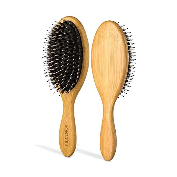 Beauty Shopping Boar Bristle Bamboo Oval Detangling and Straightening Hair Brush Men Nylon Boars