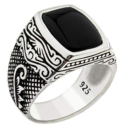 Solid 925 Sterling Silver Onyx Stone Turkish Handmade Leaf Design Luxury Men's Ring Black