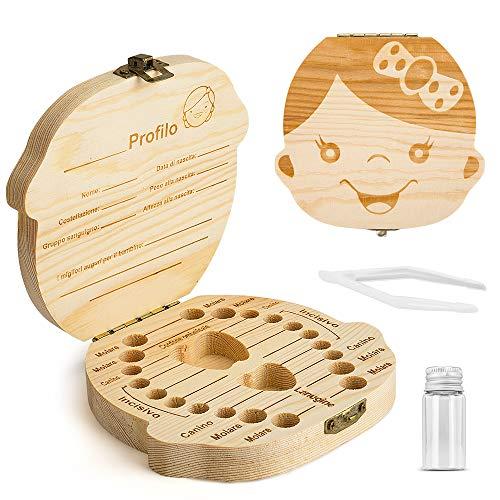 Denti salva box per bambini e bambina (italiano), Scatola Porta Dentini da Latte,Bambini in legno ricordo regalo, Accumulazione dei denti (Ragazza)
