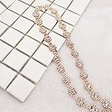 1 Yard 10mm Costume Applique Crystal Clear Rhinestone Rose Gold Chain Trims Sew On Rhinestone Wedding Belt Headband Cake Decoration (Rose Gold Metal)