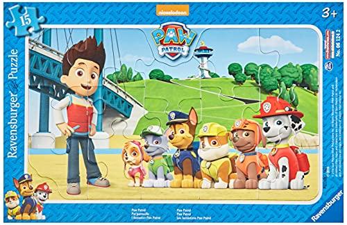 Ravensburger Kinderpuzzle - 06124 Paw Patrol - Rahmenpuzzle für Kinder ab 3 Jahren, mit 15 Teilen