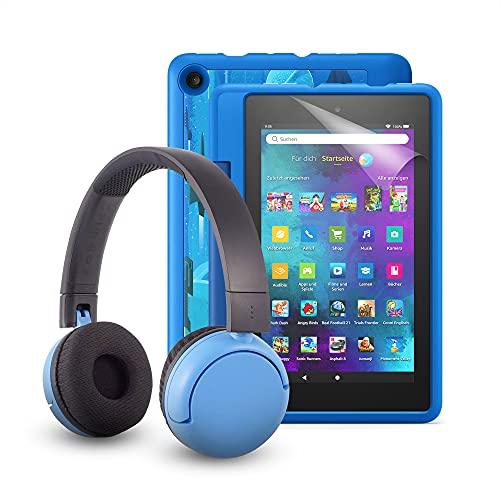 """Fire 7 Kids Pro-Tablet (kindgerechte Hülle mit """"Raumschiffe""""-Design) + BuddyPhones PopTime-Bluetooth-Headset (blau, Altersklasse: 8-15 Jahre) + NuPro-Bildschirmschutzfolie (2er-Pack)"""