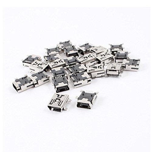 DealMux 25pcs Mini USB de 5 Pines Tipo B Hembra Jack Adaptador de Conector de Enchufe