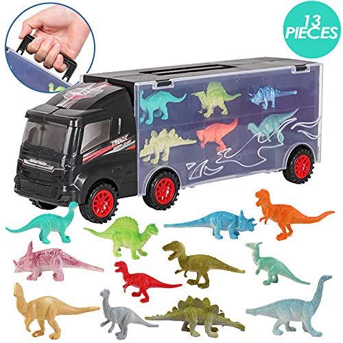 deAO 12-teilige Dinosaurier Transporter LKW Tragetasche für Autos Spielset Träger mit Miniatur T-Rex-, Triceratops-, Raptor-, Spinosaurus- und Pterodaktylus Figuren - Lustiges Lernspielzeug für Kinder