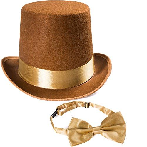 Tigerdoe Brown Top Hat & Bow Tie - Steampunk Hat -Burning Man Costume Hat - Bell Top Hat