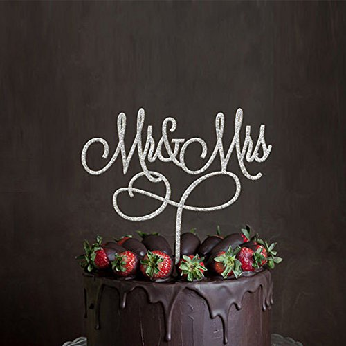 Acrylic Mr & Mrs Cake Topper, Monogram Wedding Bridal Shower Anniversary Decoration Gift Favors, Bling Metal, Silver (Silver Mr & Mrs 4)