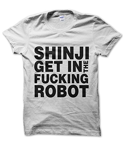 Clique Clothing Shinji Get in The F Robot T-Shirt (White, S)