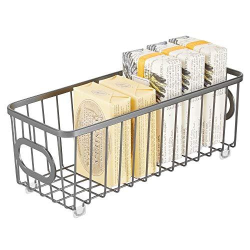 mDesign Cesta de almacenaje en metal con asas integradas – Caja organizadora pequeña con atractivo diseño de alambre – Ideal como organizador de baño para cosméticos – gris oscuro