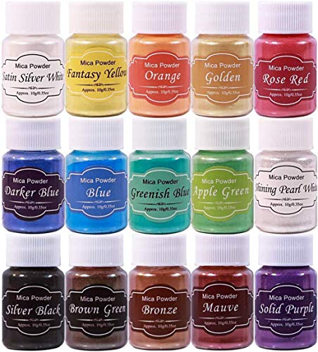 DEWEL ca.150g Naturale Pigmenti Coloranti, Mica Powder ca.10g*15 Colori Mica Polvere Colorante Polveri Perlato per DIY,Sapone, Slime,Candele, Acquerel