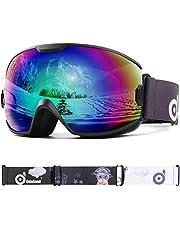 Odoland skidglasögon, snowboardglasögon för ungdomar 8–16 år – UV400 skydd och antibeslag – dubbel grå sfärisk lins i soliga och befolkade dagar