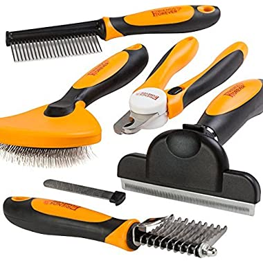 6 In 1 Professional Pet Grooming Kit - Large Dog Nail Clippers & File, Wire Dog Brush / Slicker Brush For Dogs, Deshedding Tool, Dematting Comb, Undercoat Rake - Full Cat Brushes For Grooming