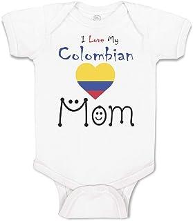Custom Baby Bodysuit I Love My Colombian Mom Cotton Boy & Girl Baby Clothes