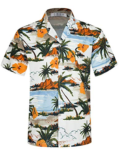 APTRO Mens Hawaiian Shirt Short Sleeve Beach Aloha Party Shirt M212 Orange...