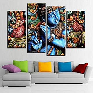 SHUII Canvas HD Prints Pictures Modular Wall Art Poster 4 Pieces Lord Krishna Hindu Religion Painting Living Room Home Decor 20x35cm20x45cm20x55cm
