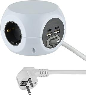 Electraline 62078 Mini-kubus stekkerdoos 3-voudig met 4 17 W (2 type C compatibel met de nieuwste technologie + 2 USB A 3....