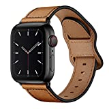 KYISGOS Compatible with iWatch Band 44mm 42mm 40mm 38mm, Genuine Leather Replacement Band Strap Compatible with Apple Watch SE Series 6 5 4 3 2 1 (Retro Camel Brown/Black, 44mm/42mm)