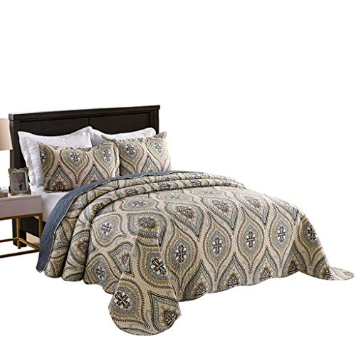 MarCielo 3 Piece Quilted Bedspread Queen, Printed Quilt, Quilt Set Bedding Throw Blanket Coverlet Oversize Lightweight Bedspread Ensemble, Dark Grey Queen Size, Joni