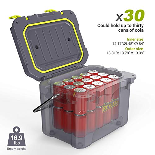 REYLEO Cooler, 21-Quart/20L Rotomolded Cooler, 30-Can Capacity, 3-Day Ice Retention, Heavy Duty Ice Chest (Built-in Bottle Opener, Cup Holder,incl.) for Camping, Fishing, and Other Activities - A21