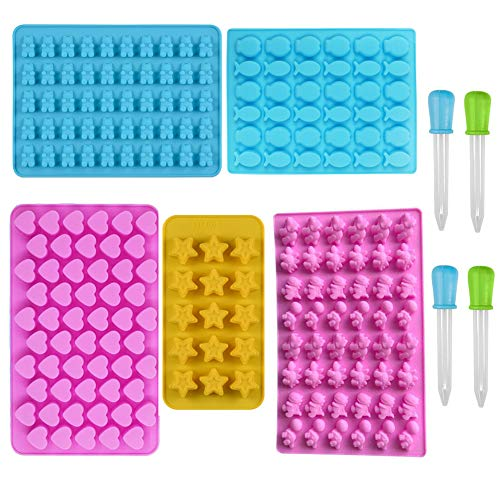 Mobiut Moldes de silicona para ositos de goma/chocolate, 5 unidades, moldes de silicona para caramelos y cubitos de hielo con 4 gotas, incluye corazones, estrellas, peces, osos y dinosaurios.