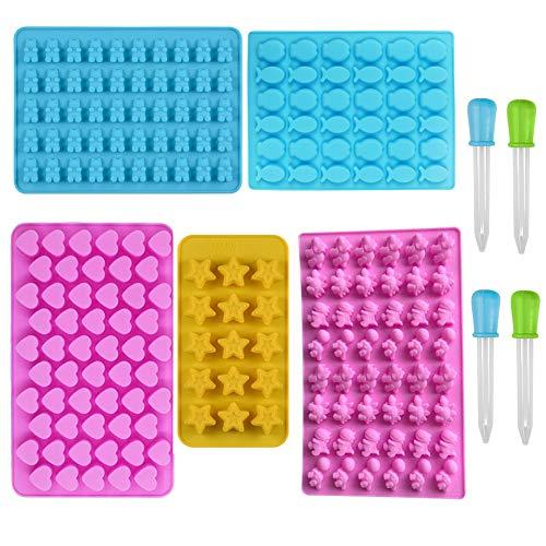 Mobiut 5 Stück Süßigkeit Formen/Bonbonform Silikon mit 4 Dropper für schokoladenform bonbonform,Einschließlich Herzen, Sterne, Fish,Bären und Dinosaurier-Formen