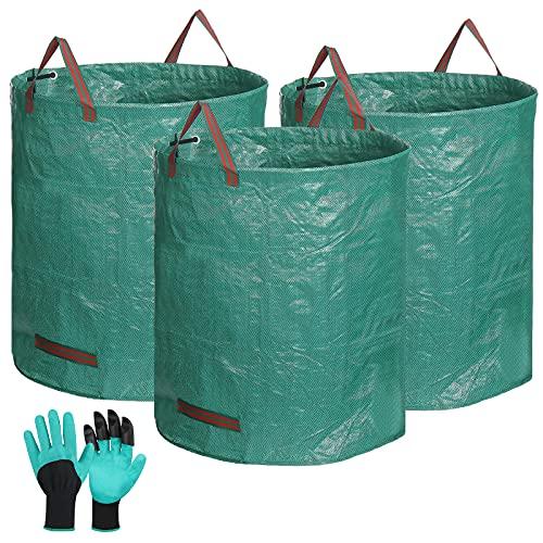 Tvird 3X Gartenabfallsack Selbstaufstellend Gartensack Laubsack 272L Gartenabfallbehälter aus Robustem Wasserdichtes Polypropylen-Gewebe(PP)150gsm Kann 150 Pfund Halten