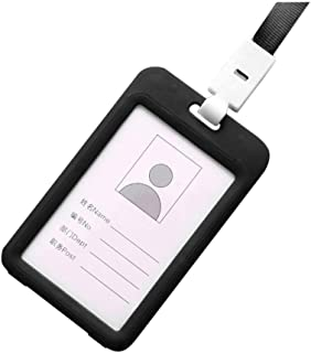 Fan-Ling Double-Sided Transparent Employee Work Card Holder,Portable Colorful Employee Plastic ID Card Holder Name Tag Lanyard Neck Strap,11 X 7cm (Black)