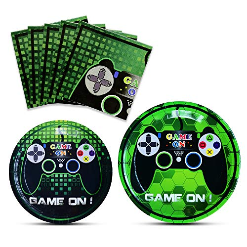 WERNNSAI Game Party Supplies Kit - Video Game Themed Party Packs for Boys Kids Birthday Game Lovers Dinner Dessert Plates Napkins Serves 16 Guests 48 Pieces
