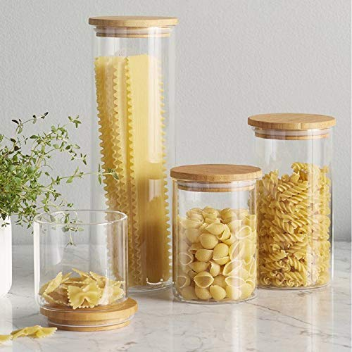 Canister Set of 5, Glass Kitchen Canisters with Airtight Bamboo Lid, Glass Storage Jars for Kitchen , Bathroom and Pantry Organization Ideal for Flour, Sugar, Coffee, Candy, Snack and More