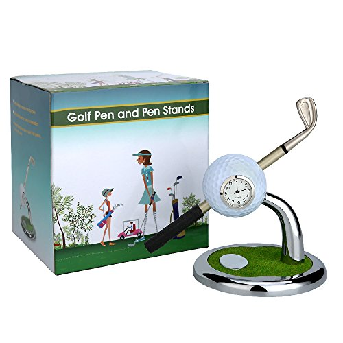 10L0L Mini Desktop Golf Ball Pen Stand with Golf pens 2-Piece Set of Golf Souvenir Tour Souvenir Novelty Gift(White)