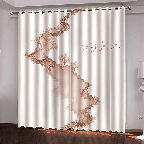 YUNSW Abstract 3D Digital Printing Polyester Fiber Curtains, Garden Living Room Kitchen Bedroom Blackout Curtains, Perforated Curtains 2 Piece Set