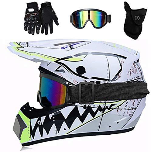 YXLM Casco de motocross MX para niños, casco de moto ATV, casco D.O.T, certificado, casco de tiburón, multicolor con guantes, casco de motocross infantil, casco integral (blanco)