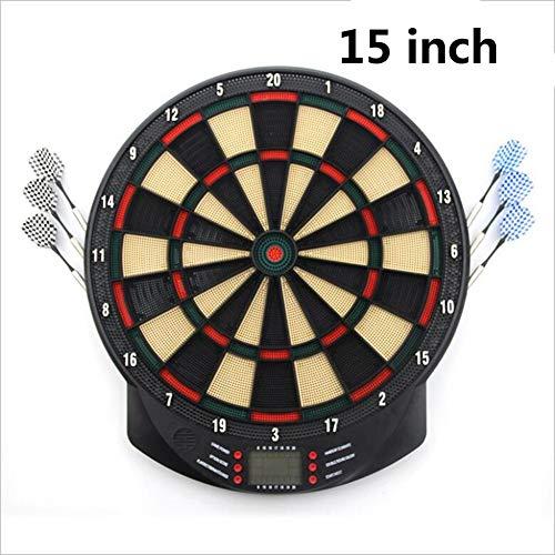 LYY 15 Zoll elektronischer Dart-Brett-Satz mit 6Stk Soft-Dart, LCD-Display Automatische Score Dart Platte Zähltafel mit Stimme 27 Spielen für Kinder Erwachsene Unterhaltung