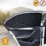 Universal Car Window Sun Shades, 2 Pack Car Rear Side Window Sunshades for Baby Family Pet, UV Protection Breathable Anti-Mosquito Car Window Covers Fit Most Cars/SUVs