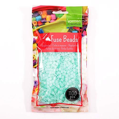 Vaessen Creative Perlas Fusibles, Azul Fluorescente, Set de 1100 Piezas DIY para Niños, Creación de Joyas, Decoraciones Hechas en Casa y Otras Ideas de Manualidades, 5mm