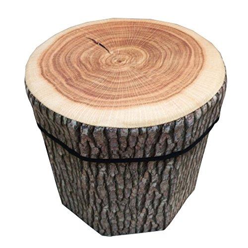 Ailina 腰掛け収納ボックス 収納スツール 折りたたみ 収納ベンチ イス チェア (M(35*35*31.5), 木の切り株)