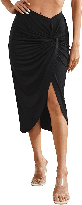 Verdusa Women's Twist Front Split Ruched Asymmetrical Hem Wrap Midi Skirt