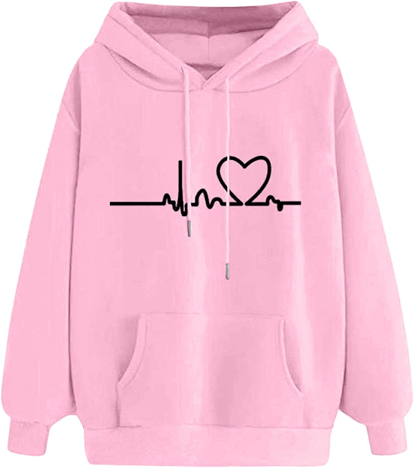 Pullover Superior Hoodies for Women Autumn NEW Print Love Loose Hood Winter