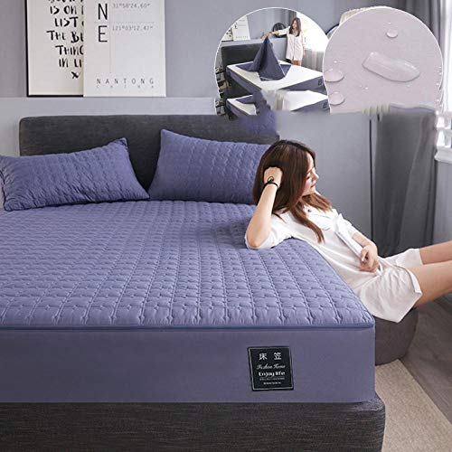 N / A Fitted Sheet King Size bed,Waterproof bed sheet cover cover all-inclusive quilted non-slip mattress protection cover dust cover-purple_180cmx200cm+25cm