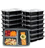 Ez Prepa [15 Pack] 32oz 3 Compartment Meal Prep Containers with Lids -Food Storage Containers BPA...